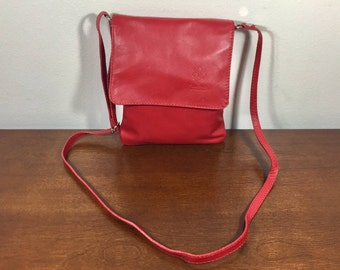 Vera Pella, made in Italy, Red Leather Purse, Bag, Cross Body, Shoulder Bag