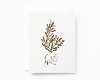 Stationery Notecard Set of 8 | Hello Notecards with Blank Interiors and Floral Illustration : Berry Grove Hello Card Set
