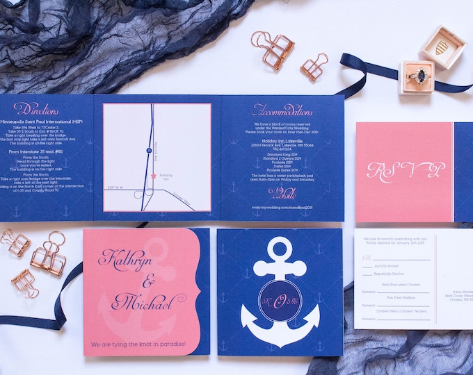 5x5 Cruise or Destination Nautical Themed Navy and Coral Tri Fold Wedding Invitation and Postcard RSVPs & Envelopes