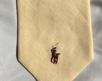 Vintage 80s Polo Ralph Lauren Cream Linen Horse Tie