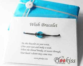 Wish Bracelets, Single Button Bangle, Friendship Gifts, BFF Token, Make A Wish Jewelry, Good Luck Present, Small Gesture, Sewing Basket Idea