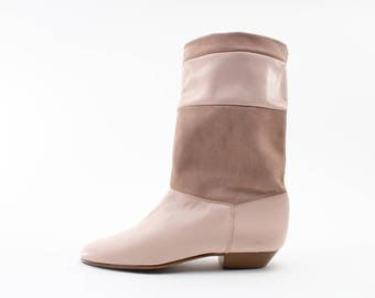 80s Vintage Boots | Pink Leather and Suede Boots | Size US Women's 7.5  Euro 38  UK 5.5