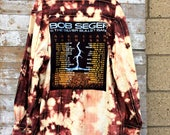 Bob Seger Flannel Shirt - Grunge Unisex Band Shirt - Upcycled Bleached Plaid Top - Band Tee - Tie Dyed Shirt