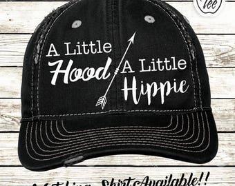 A Little Hood A Little Hippie - Distressed Hat / Low Profile Cap / Trucker Hat / Womens hat / Arrow / Boho