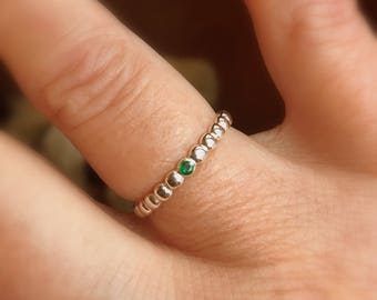 Emerald Stacking Ring, Size 6, Sterling Silver Dotted Band, Flush Set Gemstone, Genuine Emerald Wedding Band, Ready to Ship