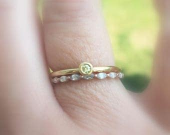 Yellow Diamond 18k Gold Stacking Ring, Engagement, Promise, Minimalist, Ready to Ship, Size 7.25
