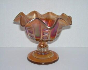 Antique Dugan Glass Coin Spot Marigold Carnival Glass Compote