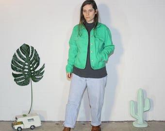 boxy bright teal turquoise denim jean jacket