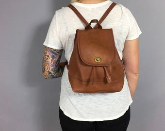 Vintage Tan Leather Coach Backpack