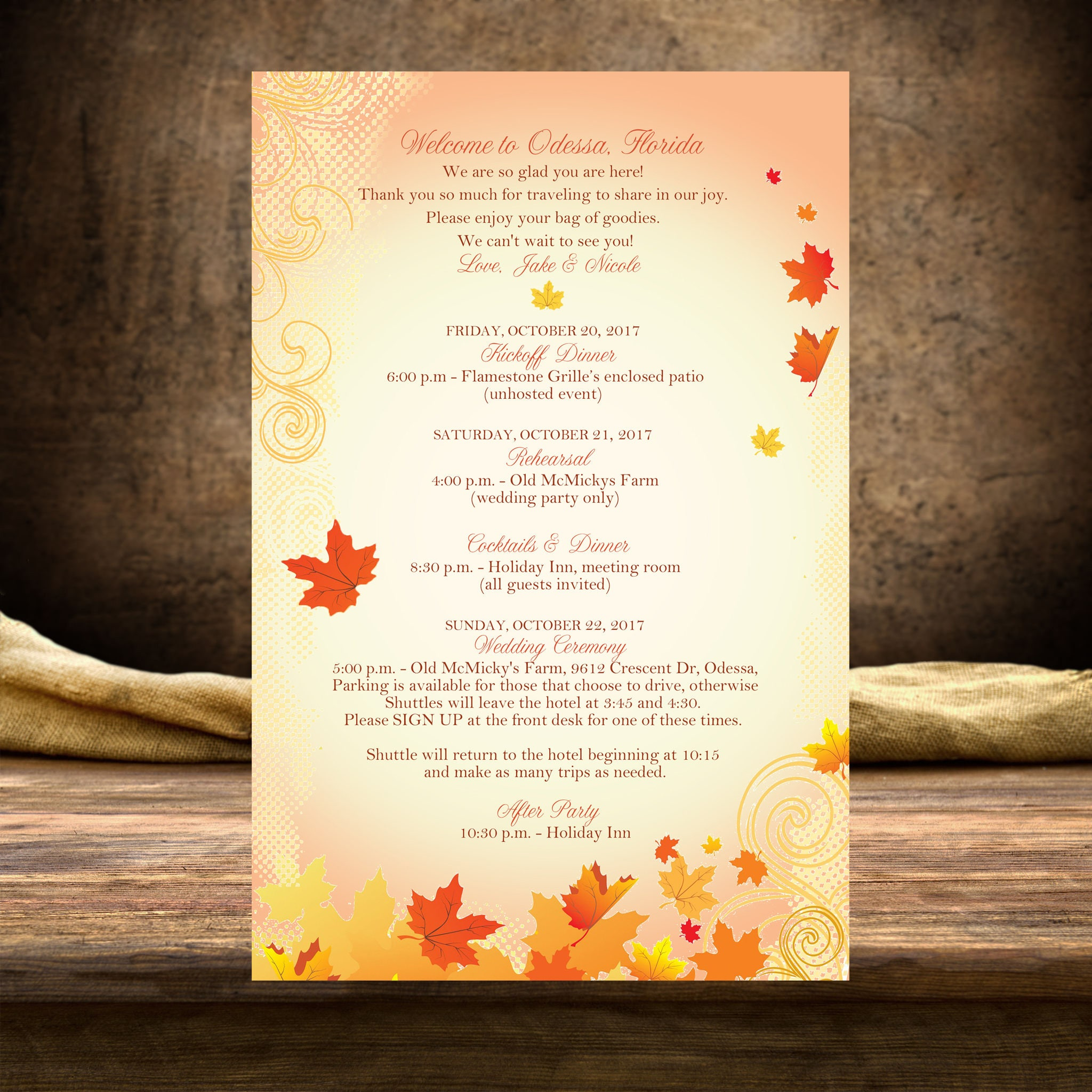 20 wedding itinerary programs schedules reception menus welcome