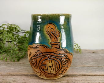 Hobbit Hole Mug 16 oz- Dark Green - Wheel Thrown and Hand Carved Coffee Cup