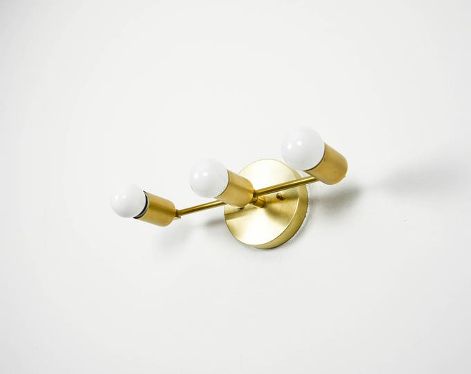 Wall Sconce Bathroom Vanity Raw Brass Gold 3 Light Modern Mid Century Industrial Art Light Bathroom Chrome UL Listed
