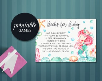 Mermaid Book request, Bring a book instead of card Insert, Mermaid Baby Book Card PRINTABLE, Mermaid Baby Shower Books for Baby Insert card