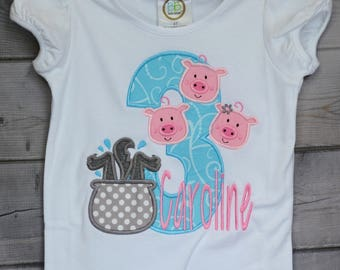 Personalized Birthday Big Bad Wolf & 3 Little Pigs Applique Shirt or Onesie Girl or Boy