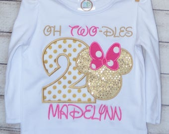 Personalized Birthday Girl Mouse Head with Big Ears and Bow TWO-DLES Applique Shirt or Onesie Girl or Boy