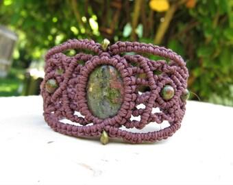 Unakite Macrame Bracelet - Hemp Macrame Bracelet - Hemp Bracelet - Bohemian Gemstone Bracelet - Hippie Jewelry - FREE SHIPPING
