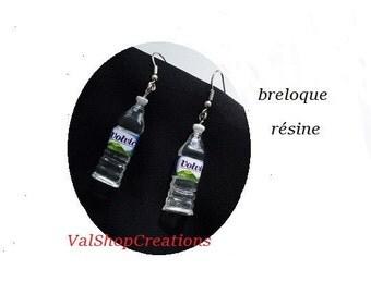 Earrings bottle resin square mineral