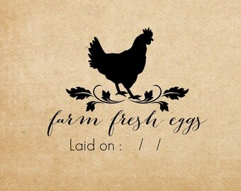 Farm Fresh eggs stamp - Custom name rubber stamp - chicken & flower  Just Laid Date - Coop Laurel Labels Rubber Stamp Pre-inked Stamp RE965