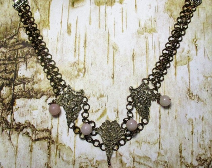 Steampunk Inspired Necklace Bronze Copper Rings 5 12mm Rose Quartz Stones 20 Inches in length