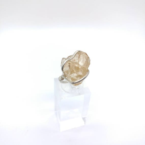 Rough Gemstone Ring | Oregon Sunstone Ring | Raw Crystal Ring | Sterling Silver Ring Sz 7 | Schiller Sunstone Ring | Oregon Sunstone Jewelry