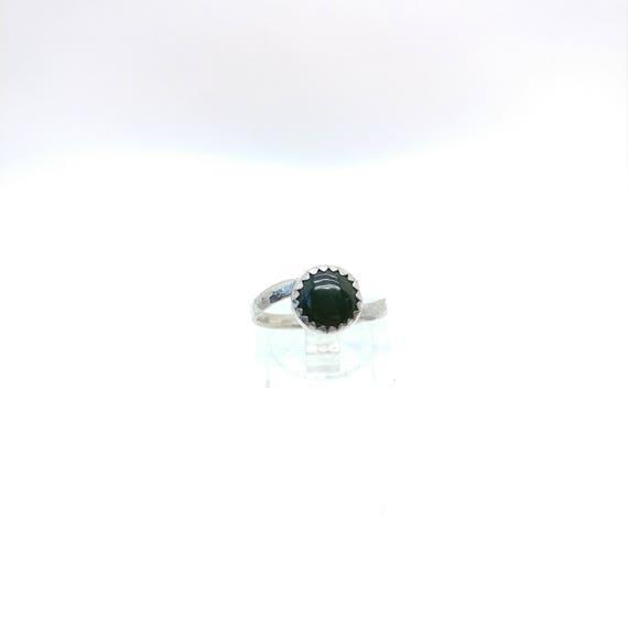 Simple Green Ring | Green Jade Ring | Sterling Silver Ring Sz 6.5 | Nephrite Jade Ring | Nephrite Jade Jewelry | BC Jade Ring
