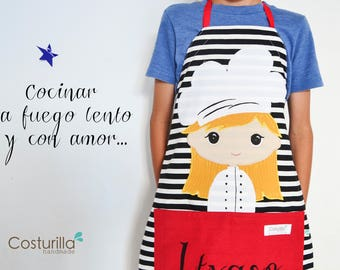 Personalized apron fot little chef - personalised children gift - delantal costurilla - love to cook