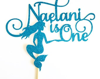 Mermaid Name Age Cake Topper - Mermaid Topper - Mermaid Party - Mermaid Cake - Pink Mermaid
