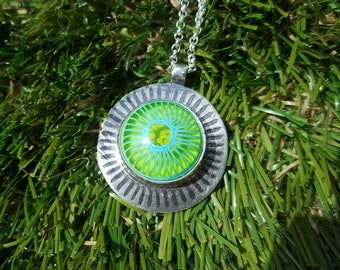 Handcrafted Sterling Silver 925 Pendant with Green / Turquoise / Yellow Lampwork Glass Cabochon