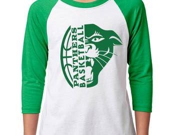 Youth Panther Basketball Raglan - School Spirit - Panthers - Unisex 3/4 Sleeve Green/White Baseball Tee