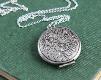 Locket Necklace, Silver Locket Necklace, Floral Locket Pendant, Vintage Style Locket Necklace, Bridesmaid Jewelry, Christmas Gift for Women