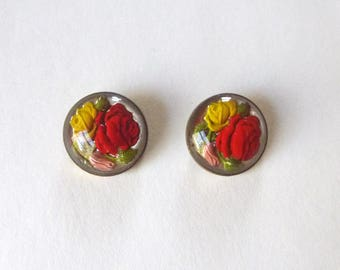 Set of two reverse painted glass roses intaglio round brooches or scatter pins