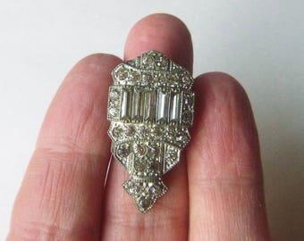 Art Deco pot metal dress fur clip geometric clear rhinestones fashion accessory