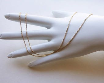 14K yellow solid gold foxtail woven 1 mm chain necklace 3.8 grams 23.75 inches