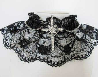 Dark Lace Bright Cross Gothic Choker