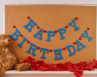 "Felt HAPPY BIRTHDAY Heart Detail Banner / Custom Colors Party Sign / Baby Photo Smash Cake Photo Prop  4"" Upper Case"