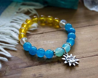 Citrine & Blue Agate Bracelet, Gemstone Bracelet with Sun Charm, Yellow and Blue Crystal Stretch Bracelet, Simple Gemstone Chakra Bracelet