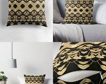 Solar Art - Solar Pyrography — Throw Pillow w/Bold Solar Etched Design ~ 'Lilies #1' / Spun Polyester / Stunning, Stylish & Unique