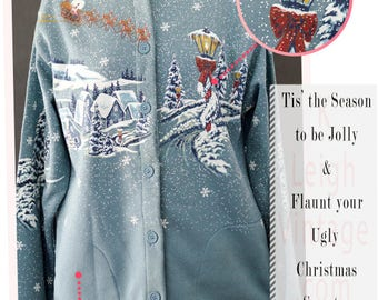 Ugly Christmas Sweater, Blue Holiday Cardigan, Grandpa Cardigan, Winter Wonderland Sweater, Ugly Christmas Jumper, Women's Size Large