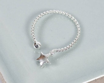 Sterling Silver Catch A Star Midi Ring