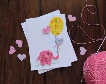 Pink Elephant First Birthday card, Crochet elephant, baby girl personalized birthday card, 1st birthday