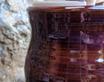 Honey Pot, Jam Jar, Ceramic, Red, Handmade