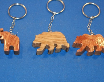 Handcrafted wood Elephant and Bear Key chain.