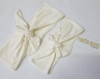 Ivory-Adjustable Top Knot Headband