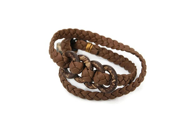 Hand plaited wrap bracelet for woman from brown recycled faux leather strips in Western country style