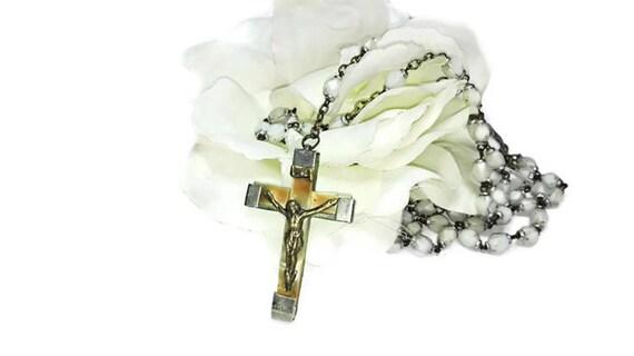 Vintage French Lourdes rosary, 5 Decade French rosary, catholic rosary, praying beads, spiritual jewelry