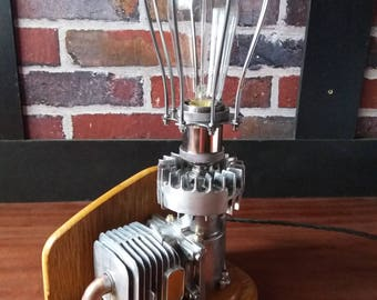 Table Lamp, Industrial, Steampunk, Dieselpunk Styling, OOAK.