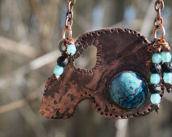 Copper Skull Necklace with bezel set Chrysocolla