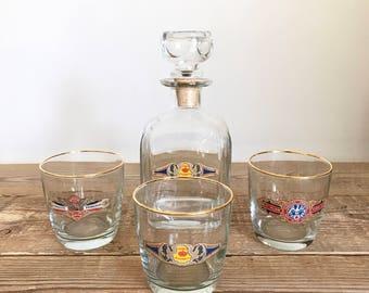 Vintage Cigar Whiskey Scotch Liquor Decanter with Rocks Glasses