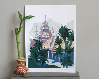"WAT CHEDI LUANG / Chiang Mai Thailand Architecture Illustration / วดเจดยหลวง เชยงใหม  ประเทศไทย 9x12"" poster art print"