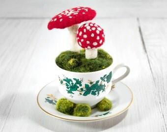 Amanita Muscaria, Needle Felted Wool Mushroom Sculpture